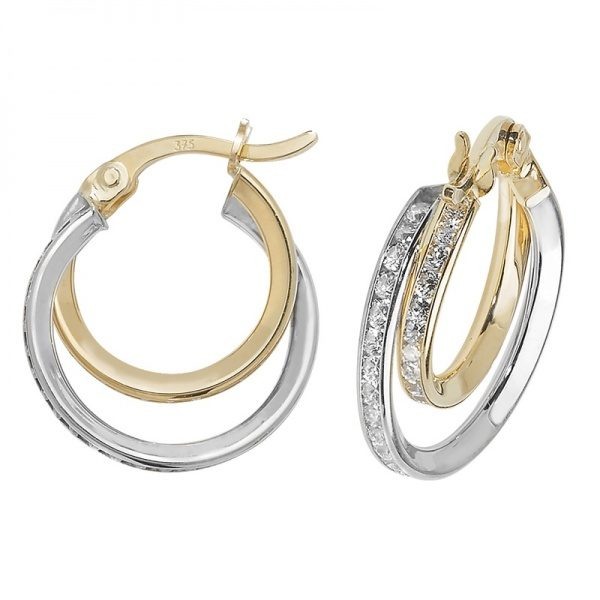 9 carat dual colour gold hoop earrings set with cubic zirconias