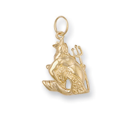 9 carat yellow gold aquarius pendant
