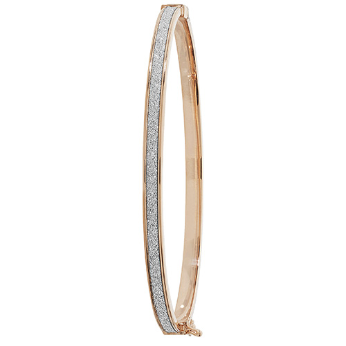 9ct rose gold frosted hinged bangle