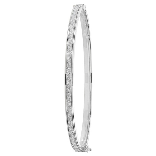 9ct white gold frosted ladies hinged bangle