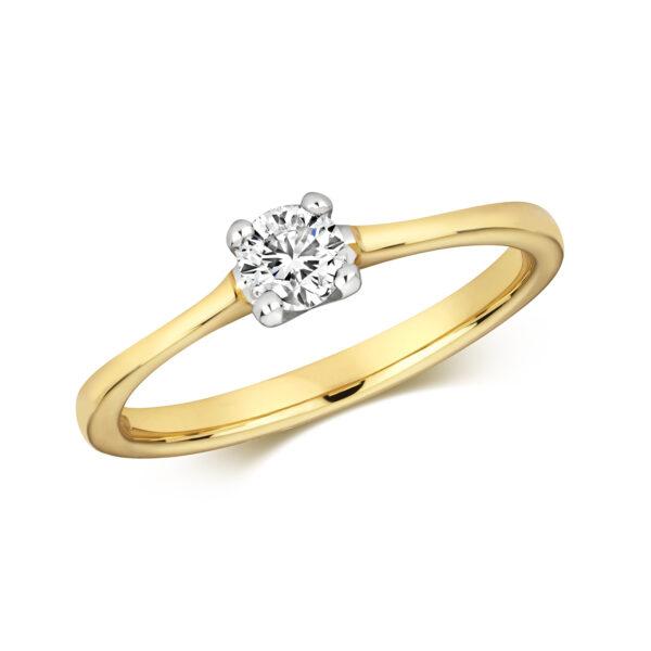 9 carat yellow gold 0.35 carat diamond ring