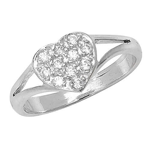 9 carat white gold babies ring heart shape cubic zirconia