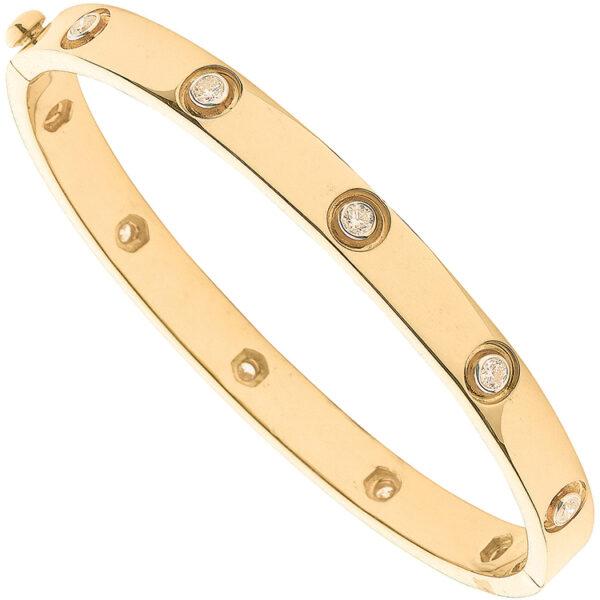 18 carat yellow gold cartier like diamond bracelet