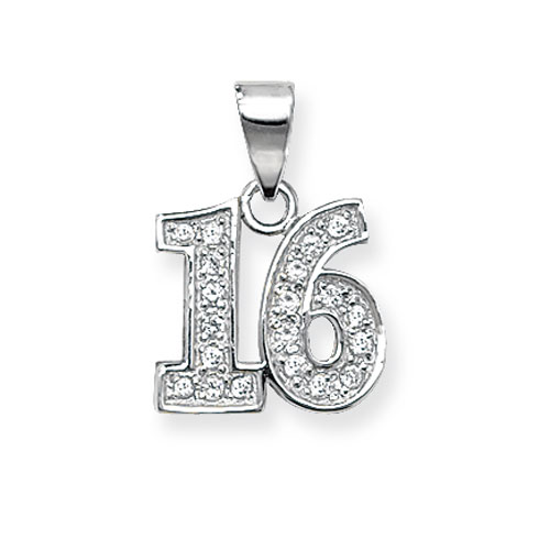 Sterling Silver Cubic Zirconia 16 Pendant