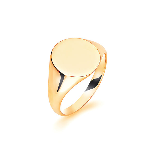 9 carat yellow gold plain oval signet ring