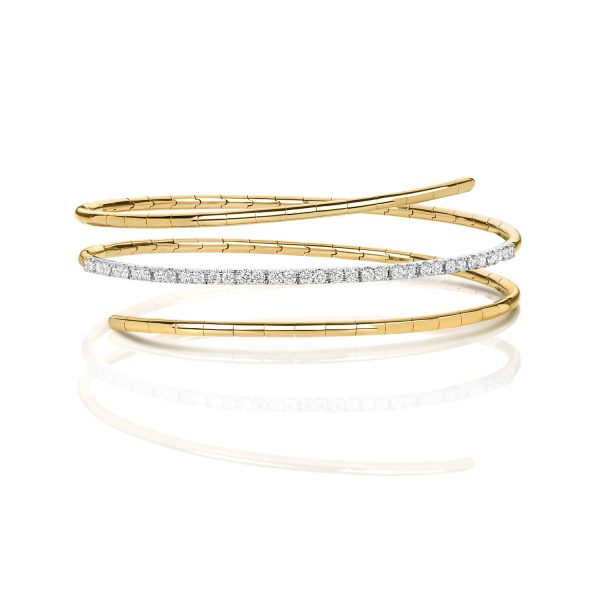 18 carat yellow gold diamond twist bangle