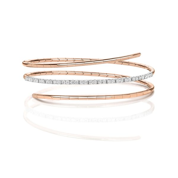 18 carat rose gold diamond twist bangle