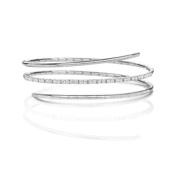 18 carat white gold diamond twist bangle