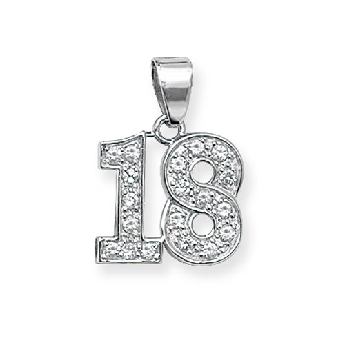 Sterling Silver Cubic Zirconia 18 Pendant
