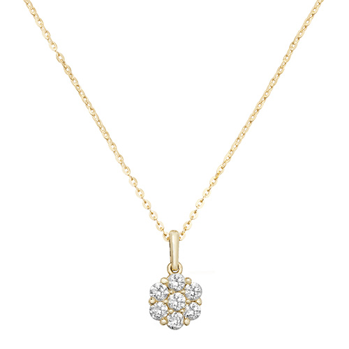 9 carat yellow gold ladies cubic zirconia pendant and chain