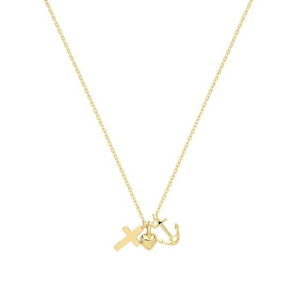 9 Carat Yellow Gold Cross Heart Anchor Necklace and Chain