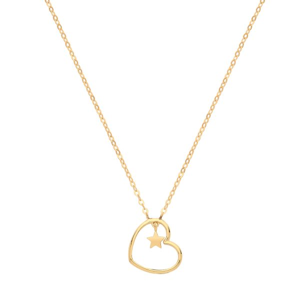 9 carat yellow gold heart charm pendant and chain