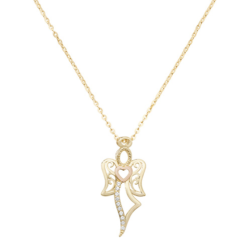 9 Carat Gold Ladies cubic zirconia Angel Pendant And Chain