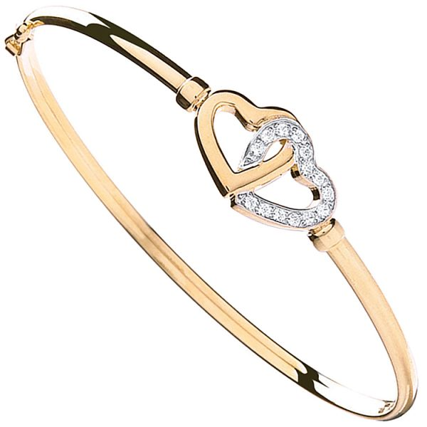 9ct yellow gold cubic zirconia ladies bangle