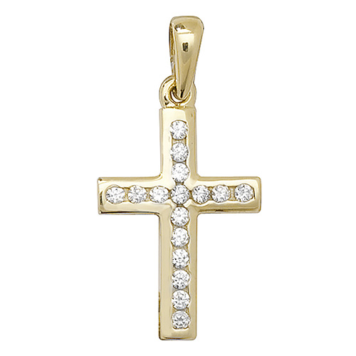 9 carat yellow gold cross set with cubic zirconias