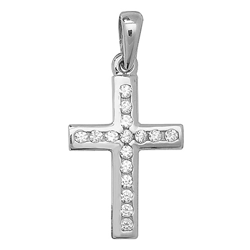 9 carat white gold cross set with cubic zirconias