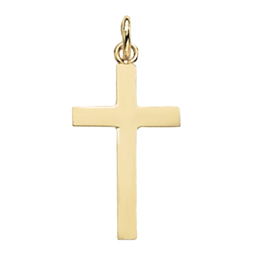 9 carat yellow gold plain cross pendant