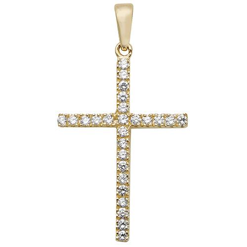 9 carat gold cross set with cubic zirconias