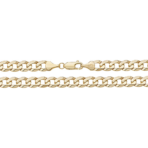 9ct yellow gold flat bevelled curb chain