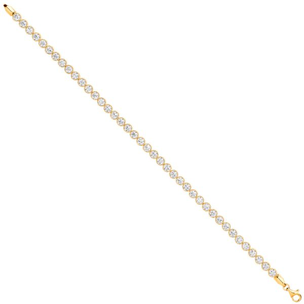 9 carat yellow gold cubic zirconia tennis bracelet