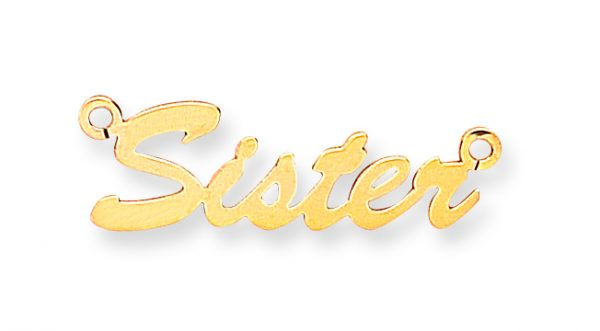 9 carat yellow gold fancy nameplate with 7 letters