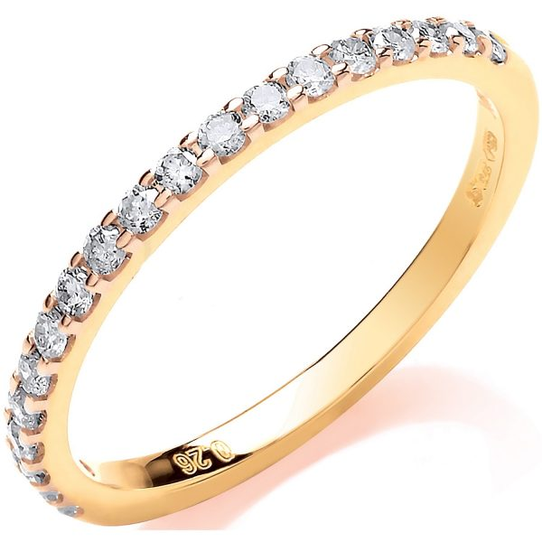 9 carat yellow gold diamond half eternity ring