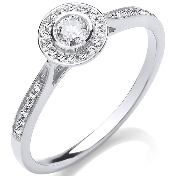 9 carat white gold halo style ring