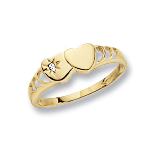 9 carat yellow gold double heart shape maidens signet ring