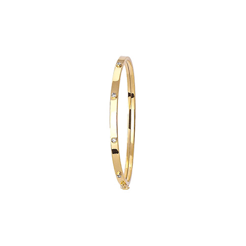 9 carat yellow gold bangle with cubic zirconias