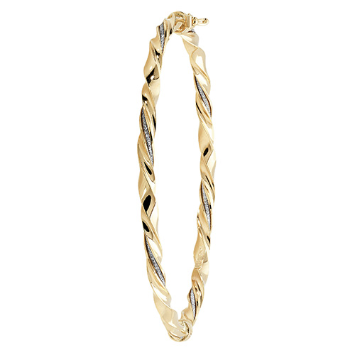 9ct Gold ladies twisted hinged bangle