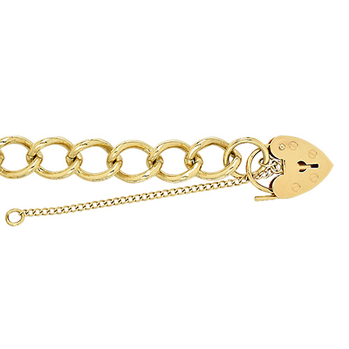9ct yellow gold ladies charm bracelet