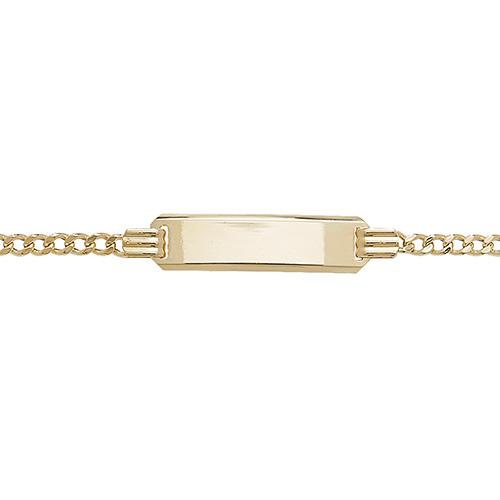 9 carat yellow gold babies figaro id bracelet