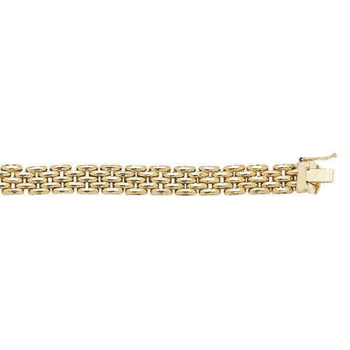9ct yellow gold ladies brick link bracelet