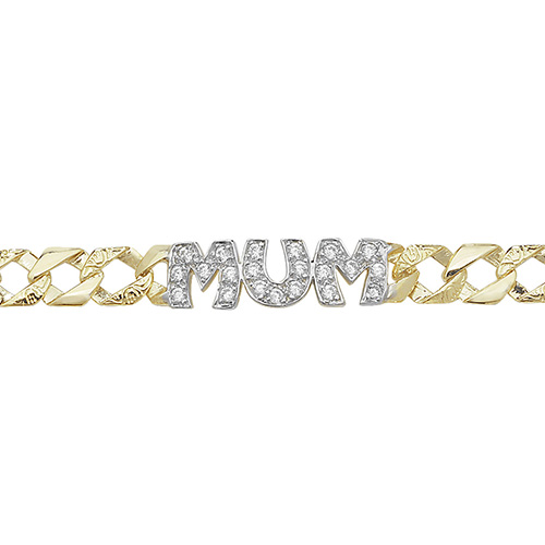 9 carat yellow gold ladies cubic zirconia mum bracelet