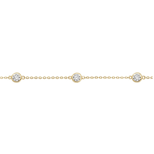9ct yellow gold ladies cubic zirconia bracelet