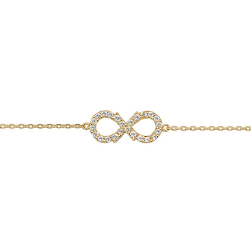 9ct yellow gold ladies cubic zirconia infinity bracelet