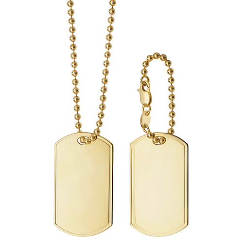 9 carat yellow gold dog tags and chain