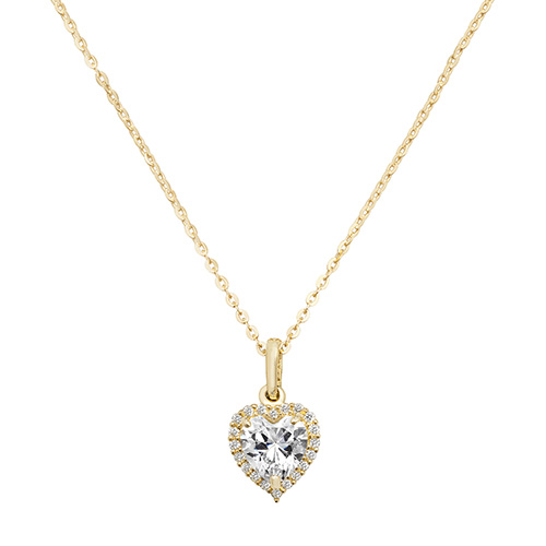 9 Carat Yellow Gold Cubic Zirconia Heart Pendant And Chain