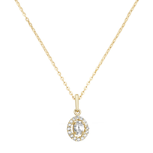9 Carat Yellow Gold Cubic Zirconia Oval Shape Pendant And Chain
