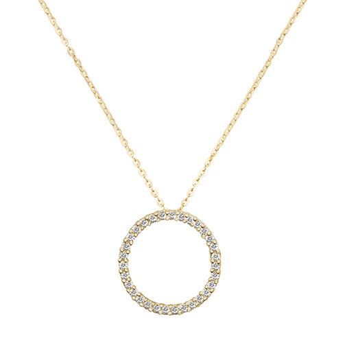 9 Carat Yellow Gold Cubic Zirconia Circle Pendant And Chain