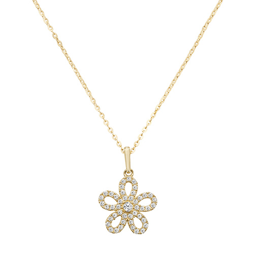 9 Carat Yellow Gold Cubic Zirconia Flower Pendant And Chain