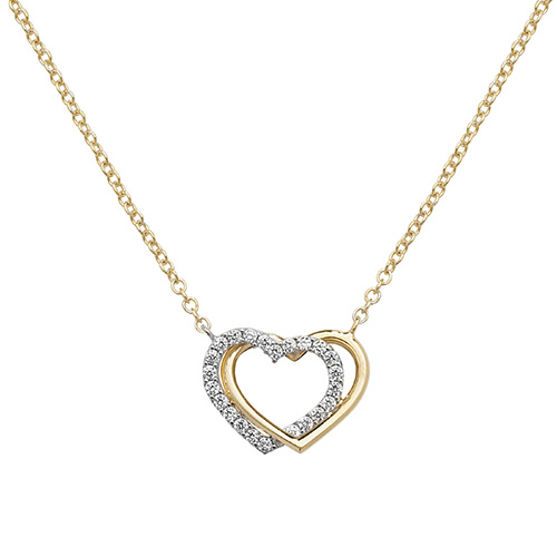 9 Carat Yellow And White Gold Cubic Zirconia Double Heart Necklace