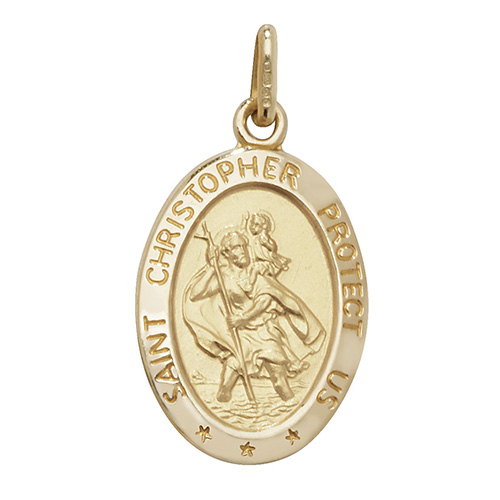 9 Carat Yellow Gold Oval Saint Christopher Pendant