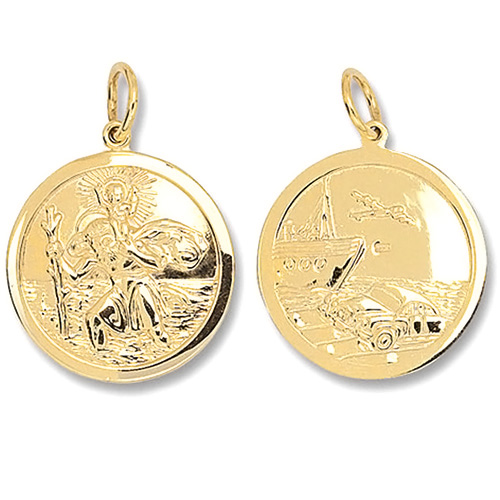 9 Carat Yellow Gold Round Saint Christopher Pendant