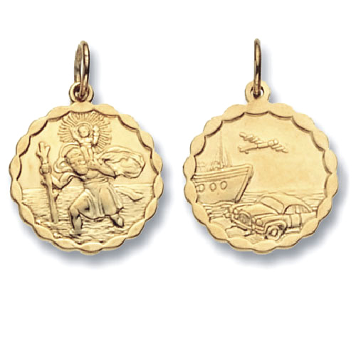 9 Carat Yellow Gold Patterned Saint Christopher Pendant