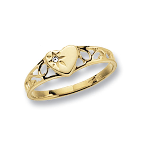 9 carat yellow gold heart shape maidens ring set with a cubic zirconia