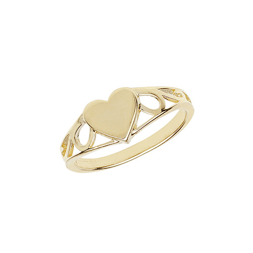 9 carat yellow gold heart shape signet