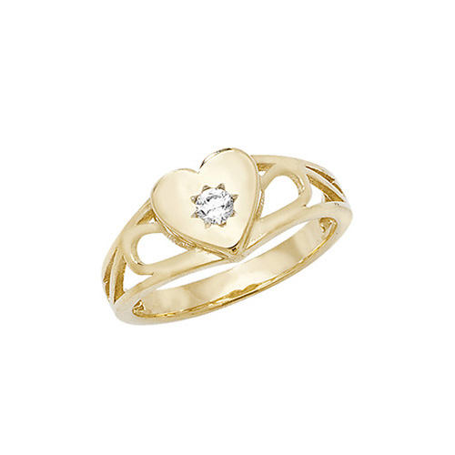 9 carat yellow gold babies ring set with a cubic zirconia