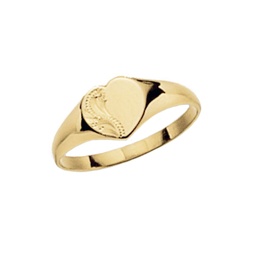 9 carat yellow gold heart shape signet ring