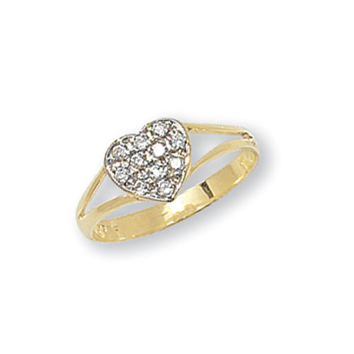 9 carat yellow gold heart shape baby ring with cubic zirconia